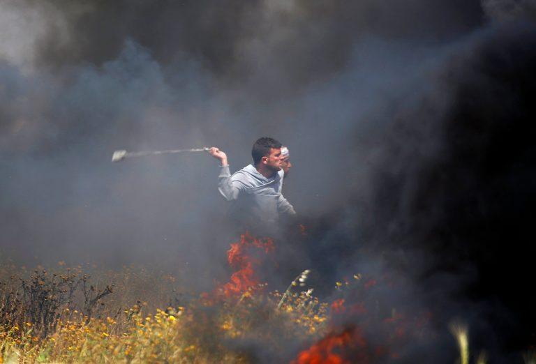 protestan palestinos bloqueo fronterizo de israel