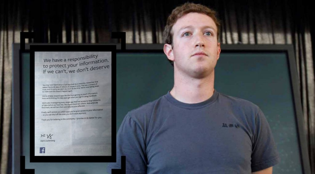 carta de zuckerberg para disculparse por robo de datos