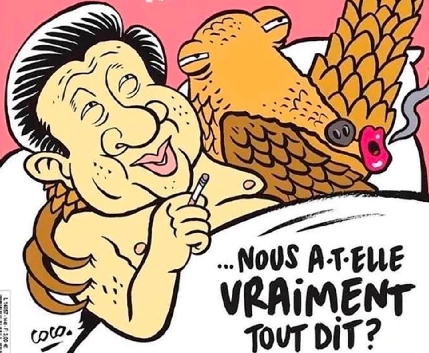 Charlie Hebdo publica caricatura de Xi Jinping con un pangolín en la cama