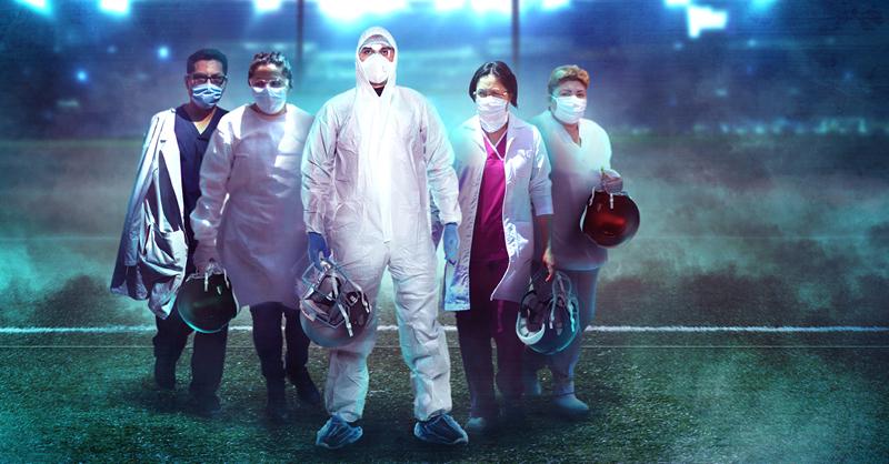 Integrantes de distintos equipos de futbol americano que actualmente se encuentran en la primera línea de defensa en contra de la pandemia de Covid-19