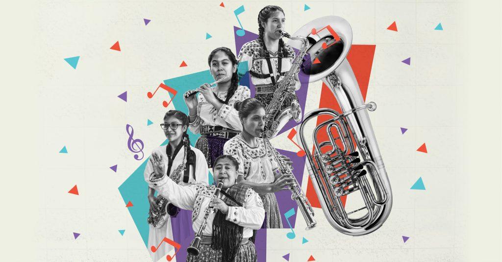 Las integrantes del grupo originario de Oaxaca, Mujeres del Viento Florido