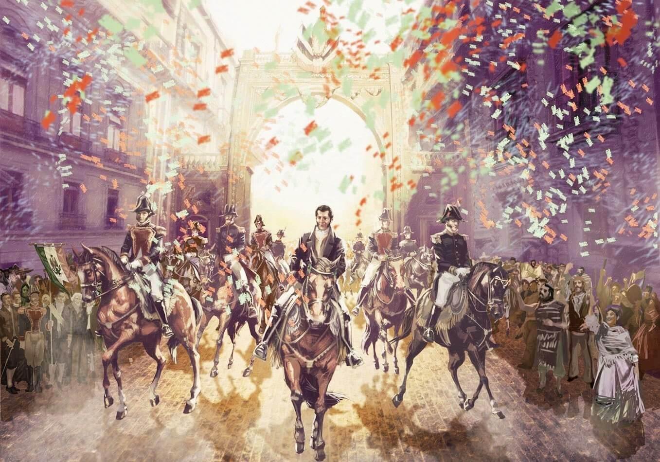 Entrada triunfante del Ejército Trigarante, inició de México independiente