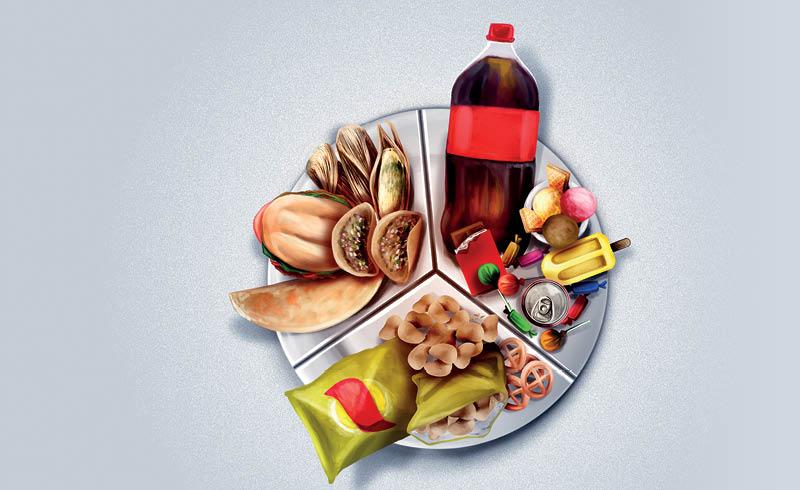 sobrepeso, diabetes, enfermedades del corazón o hipertensión, causados por la alimentación