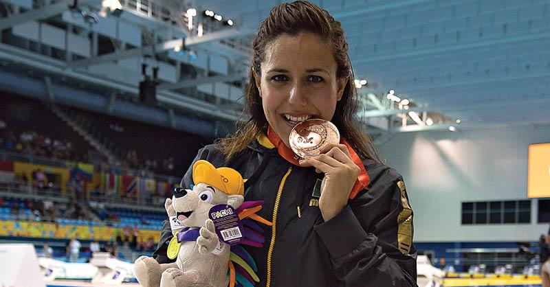 Vianney Trejo, campeona de natación, se prepara en Cancún, Quintana Roo