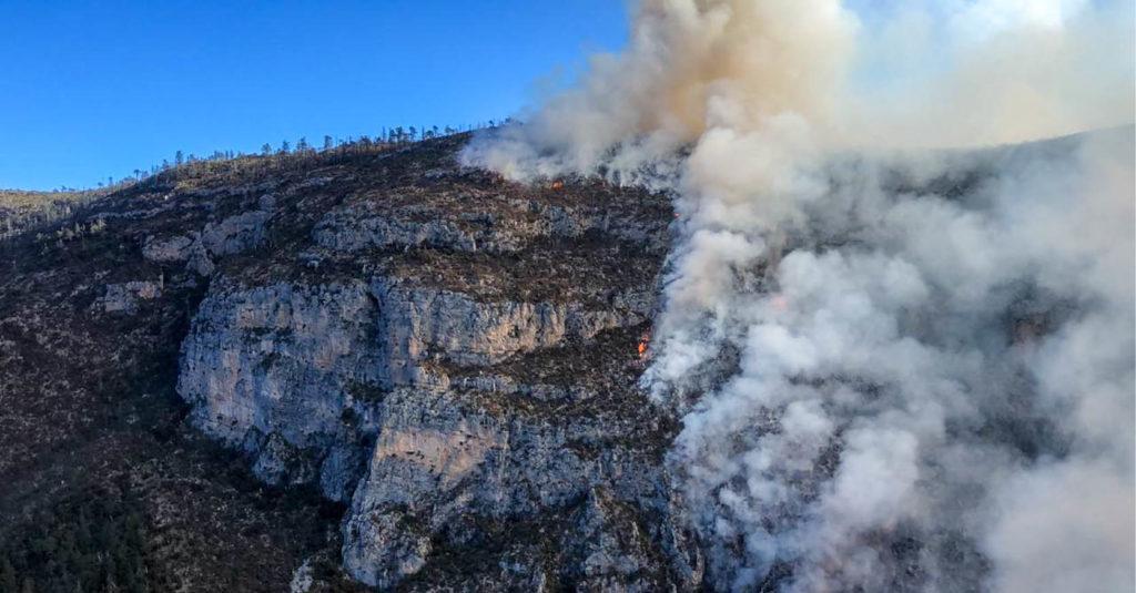 Los brigadistas siguen combatiendo el incendio que desde el 16 de marzo consume la Sierra Arteaga