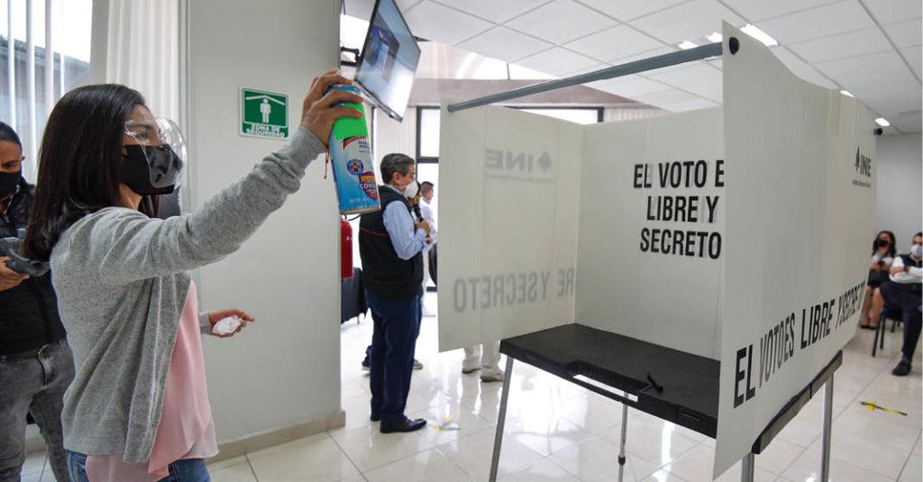 La Junta Local del INE realizó un simulacro de votación con medidas sanitarias