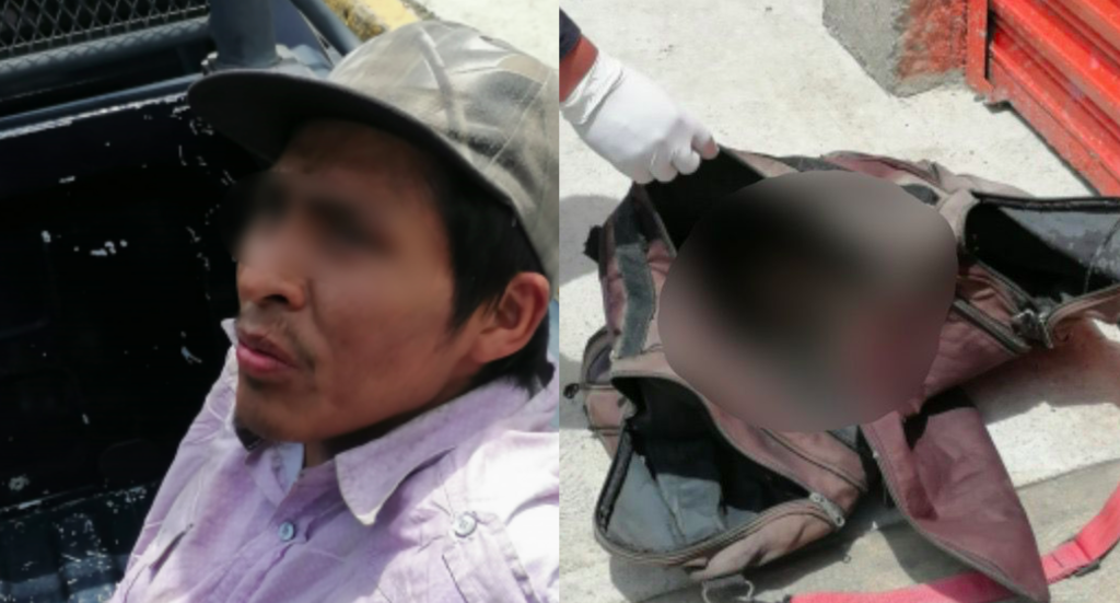 Cae sujeto que cargaba cabeza humana al interior de su mochila en Valle de Chalco