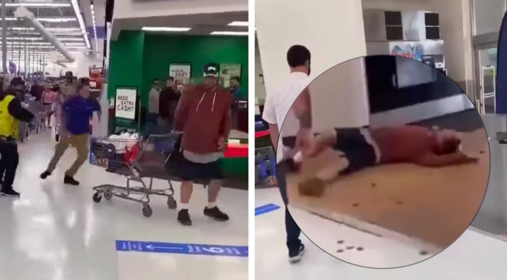 Empleado de Walmart en EU noquea a cliente que lo agredió y escupió (Video)