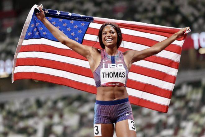 Gabby ganó medalla de Bronce en 200 metros planos.