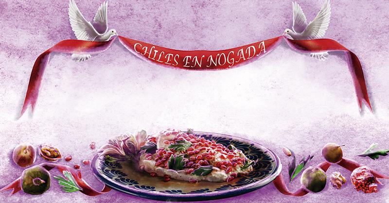 Del campo a las manos de las cocineras tradicionales, hasta llegar al plato, el Chile en Nogada, vestido por los colores tradicionales mexicanos