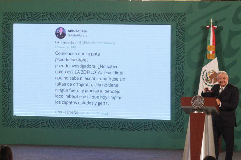 AMLO lee en la mañanera tuit con fuertes insultos contra él y Gutiérrez Müller (VIDEO)