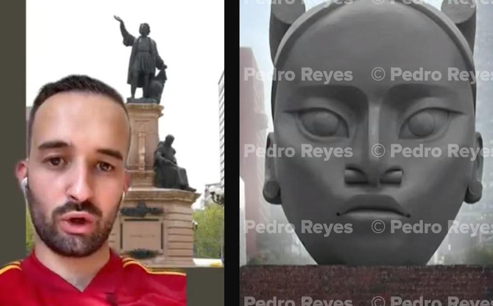 """""""Una burrada"""" Español ataca a México por cambiar escultura de Cristóbal Colón por mujer indígena"""