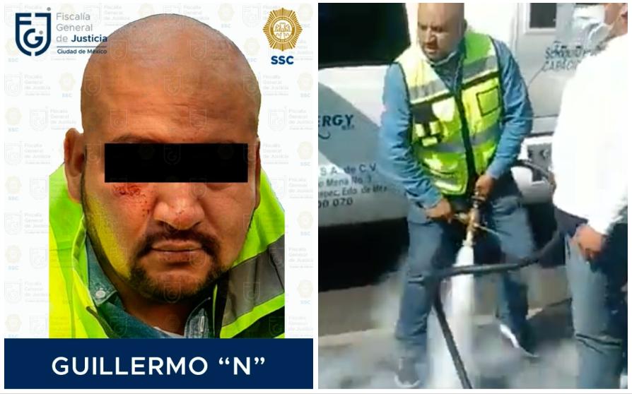 Dan prisión preventiva a gasero que roció con manguera de pipa a policía de CDMX